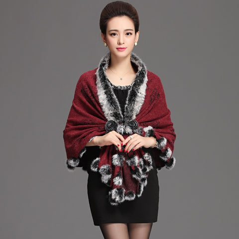 2015 autumn winter new rabbit fur collar print cape wool blend knitted cardigan real fur coat for women