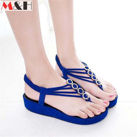 DROPKICKS STOCK ITEM: 2016 New Women Metal Decoration Sandals Elastic Band Platform Flip Flops Summer Sandalias Mujer Flat Ankle-wrap Sandals Fashion