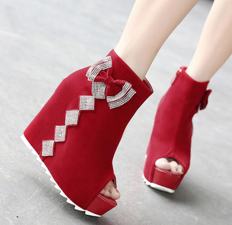 2015 New Spring/Autumn Wedges boots party fashion shoes woman sexy Bow-Tie high heels platform pumps women high heels pumps