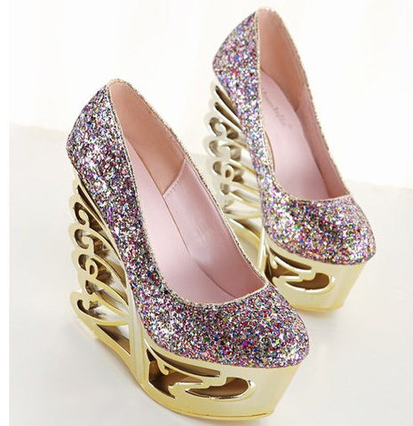 15CM High Heel Size 34-39 Women Fashion Sequined Cloth Wedges Pumps Lday Sexy Party T Show Abnormal Heels Wedges  F371-1