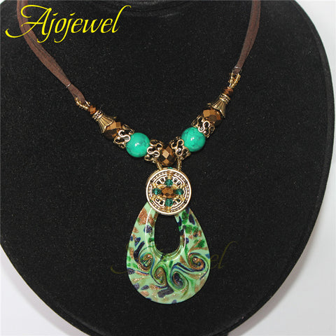 (Match box)2014 christmas gift beaded jewelry leather rope crystal & rhinestones green murano glass necklace pendants for women