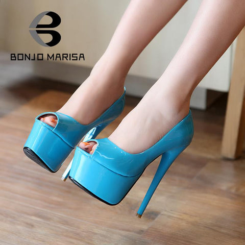 2014 Sexy High Heels Stiletto Platform Pumps for Women Peep Toe Patry Evening Wedding Shoes Man-made Patent Leather Pumps