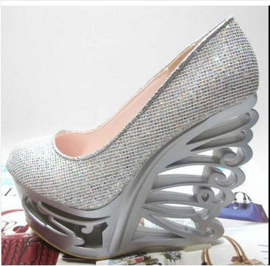 15CM High Heel Size 34-38 Women Fashion Sequined Cloth Wedges Pumps Lday Sexy Party T Show Abnormal Heels Wedges   F368