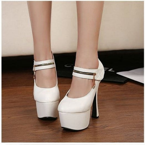 15CM New Size 34-40 Women Fashion Ankle -Wrap Flock Pumps Lady Party Sexy Pumps Color White Black   F349