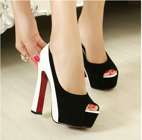 'Hot Sale Pumps! 2014 Newest Fashion Pumps High Heel Shoes Women Sexy Platform Open Toe Red Bottom Sandals