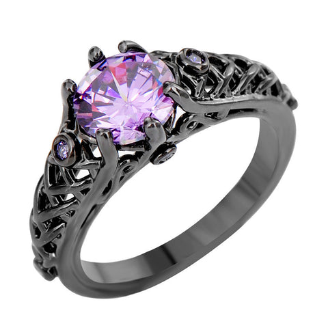 Amethyst New Sapphire Cubic Zircon Ring Unique Black Gold Filled Big Rings For Women Wedding Engagement Promotion Bijoux RB0391 Alternative Measures