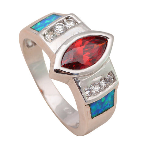 2014 New coming Christmas gifts Red Garnet Blue Fire Opal 925 Silver Ring USA Size #6.75 #8 #8.75 Fashion Opal Jewelry OR547A