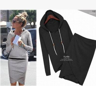 2015 Fashion Long Sleeve Hooded Jacket Bag Hip Skirt Two Irregular Casual Hoodie Female Suits plus size s-4xl Femininos Clothes
