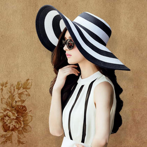 2016 Women Summer Hat Foldable Straw Weave Fashion Lady Beach Sun Hats Black&White Striped Caps Visor Large Sun-shading Feminino