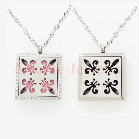 DROPKICKS STOCK ITEM: 30mm 316L Stainless Steel Silver Magnetic Solid Base Square Floating Locket Perfume Locket Pendant (free felt pads) Alternative Measures