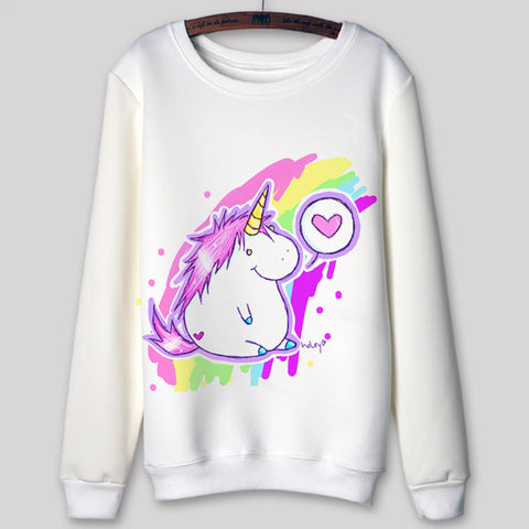 2015 New autumn spring Fashion women hoodie pullover hood go to hell Unicorn Print Long Sleeve Sweatshirts Casual Hoody