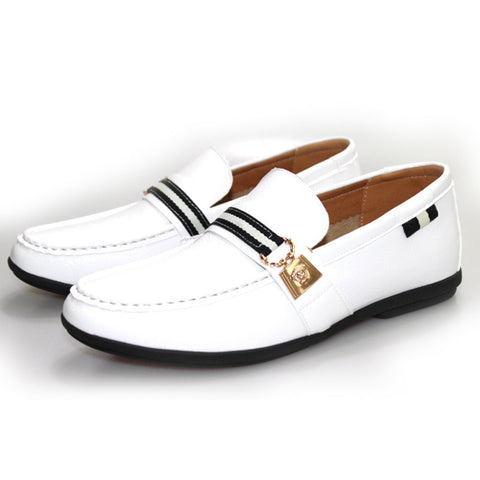 2015 fashion sneakers white black soft genuine leather men loafers slip on comfortable flats driving boat shoes