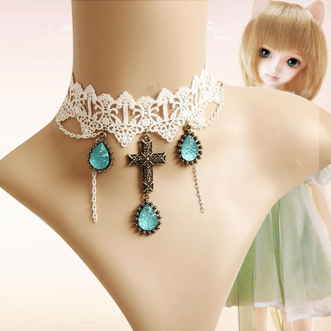 20$ free shipping Princess Lolita Lamour evil necklace female short design chain fashion lace