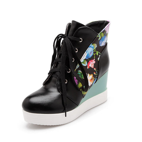 2015 New fashion lace up women boots platform shoes wedges high heels ankle boots flower print leather autumn winter snow boots