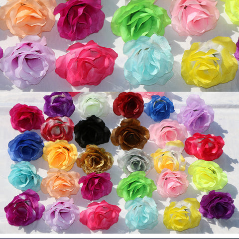 36 colors 50pcs/pack 4 layers Rose Heads Artificial Silk Flowers DIY Wedding Decorative Bouquets & Wreaths Home Decoration Gold