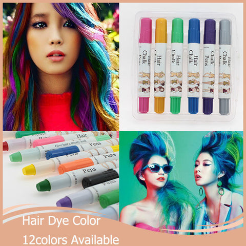 1pc/lot Women y Fashion Easy Temporary Non-toxic Pastel Hair Chalk Dye Hair Extension Kit Hair Color 12 colors available Alternative Measures