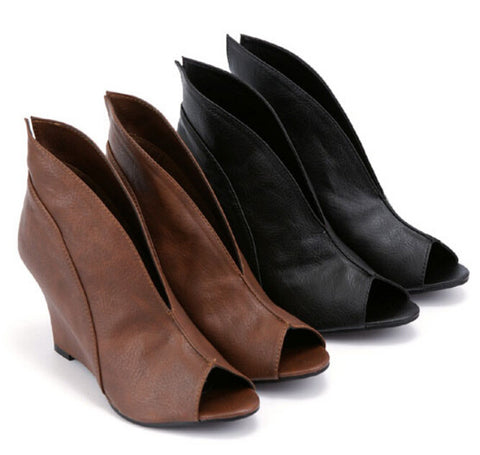 2015 Spring Summer Womens Black Brown White Peep Toe Wedge Ankle Boots Booties Tb0275