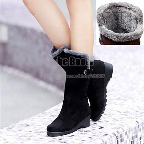DROPKICKS STOCK ITEM: 2013 New Hot Selling Black Brown Thermal Low Heel Wedge Snow Fur Lined Boots Winter Flat Mid Calf Boots For Women Clearance