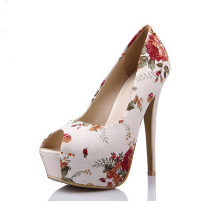 6 Inch Platform Stiletto Heels Peep Toe Floral Print American Flag Red Orange Bow Tie Suede Patent Leather Prom Shoes Pumps 2015