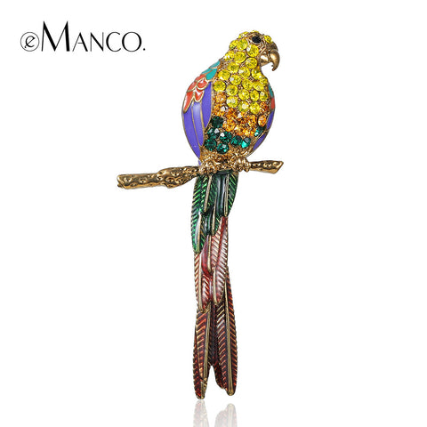 //Gold brooch animal jewelry//zinc alloy bird brooch new arrival 2015 jewelry small rhinestone brooches for women eManco BR02923