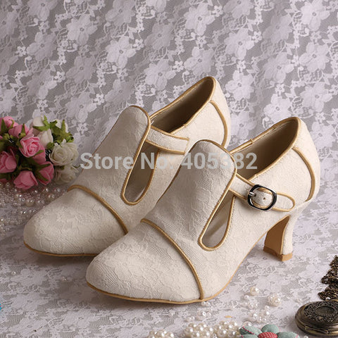 (More Colors)Customized Chunky Heel Wedding Shoes T-strap Off White Lace in Winter