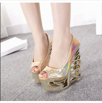 15CM 2015 Size 34-38 Women Fashion Colorful Peep Toe Wedges Pumps Lday Sexy Party T Show Abnormal Heels Wedges A35
