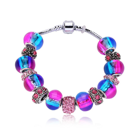 (12Pcs/Lot) New European charms jewelry Crystal Beads Fit European Bracelet DIY Snake Chain Bracelets Women Jewelry