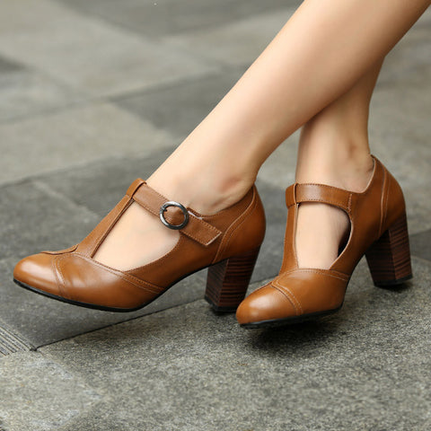 DROPKICKS STOCK ITEM: Ankle Strap Heels Wrap Full Grain Leather T Low Cut Uppers British Style High Quality Round Toe Single Shoes With Thick Soles