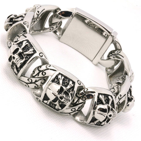 146g Top Quality Gothic Style Skull Bracelet 316L Stainless Steel Hot Biker Punk Skull Fashion Gift Design Bracelet Alternative Measures