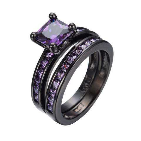 Amethyst Couple Ring Black Gold Filled Cubic Zircon Stone Ring 2pcs Wedding Party Jewelry Gift Bijoux Hot New RB0364 Alternative Measures