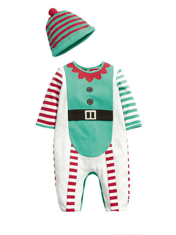 2015 Baby rompers One-piece Costumes kids long sleeve spring autumn baby wear romper + hat clothing set Christmas Gifts