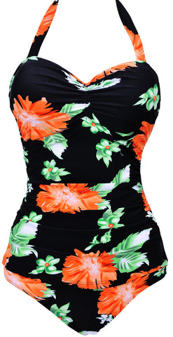 2016 NWT Super Sexy  Women One Piece  Cut Out Back Design  Halter Ruffles Swimwear Plus size Floral Swimsuit  M-3XL