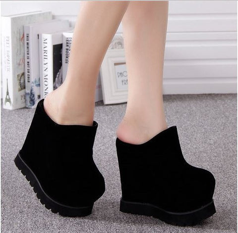 15CM Size 34-39 2015  Korean Styles Women Fashion Flock Platform Wedges Sandals Lady Sexy Party Club Slides F3532