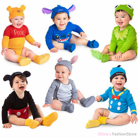 2015 New arrival brand baby rompers lovely cartoon animal cotton long sleeve clothing sets romper+ hat for newborn 6 colors