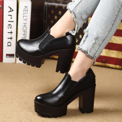 2013 winter fashion thick heel platform high-heeled shoes platform boots round toe elastic strap HARAJUKU vintage ankle boots