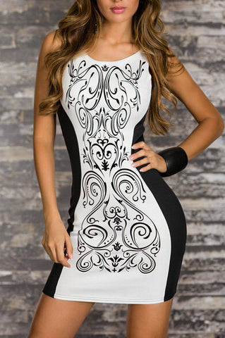 2015 Women Summer Dress  Retro Printed Black & White Patchwork Casual Bodycon Dress Sexy Summer Tank Club Dresses S-XXL