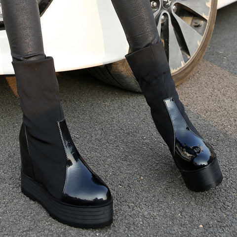 2013 Fashion Korean Shoes Womens High Heel Creepers Flat Platform Black Patent Leather Elastic Motocycle Ankle Boots For Sale