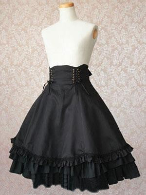 Black Polka Ruffled Lace Bottom Gothic Lolita Skirt costumes cosplay halloween Christmas Alternative Measures