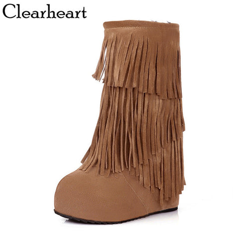 arrive sexy boots Flock women Round Toe snow boots ladies' Noble and elegant Martin Simple wedges Fringed boots