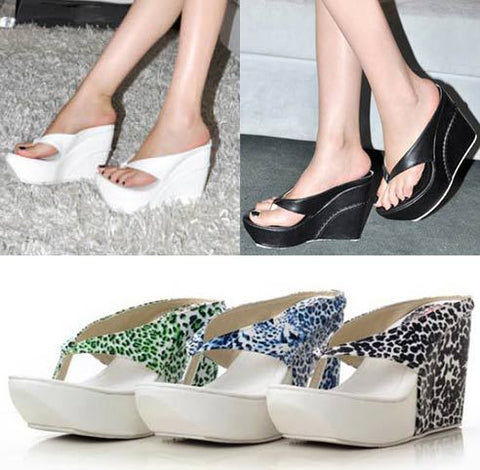 2013 Summer Big Plus Size Custom White Leopard Platform Wedge High Heel Flip Flops Sandals Slippers 40 41 42 43 44 45 Wholesale