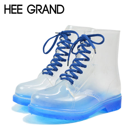 2014 PVC Transparent Womens Colorful Crystal Clear Flats Heels Water Shoes Female Rainboot Martin Rain Boots XWX195