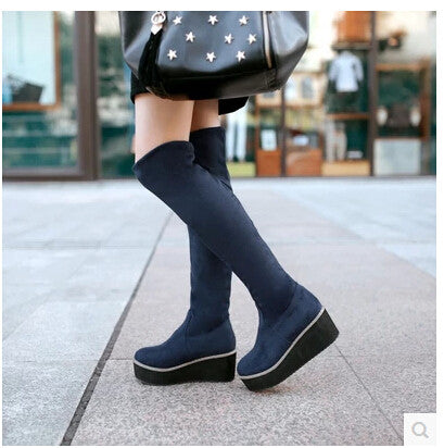 2015 women new fashion spring autumn over-the-knee boots platform 5cm wedges scrub shoes large plus size 40-43
