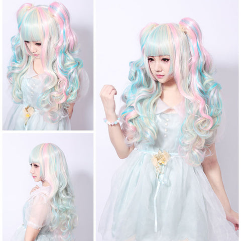 68CM Lolita Wig Pink Blue Mixed Beige Ombre Long Curly Clip-In Ponytails Full Bangs Cosplay Wig Party Wigs Three-Piece Suit Alternative Measures