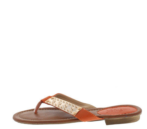 TELISSA2 ORANGE GOLD STUDDED PLATE SANDAL