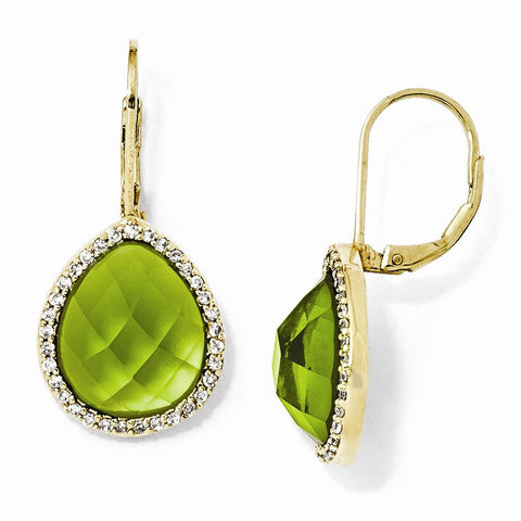 CLEARANCE Sterling Silver Gold-Plated Simulated Peridot & CZ Leverback Earrings