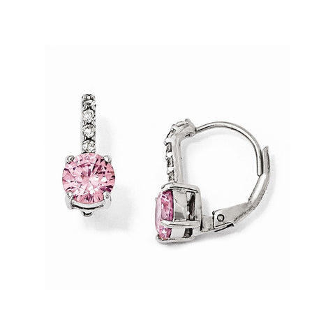 CLEARANCE Sterling Silver CZ Pink Leverback Earrings