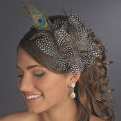 * Black w/ White Spots and Peacock Feathers Headband Headpiece 4028