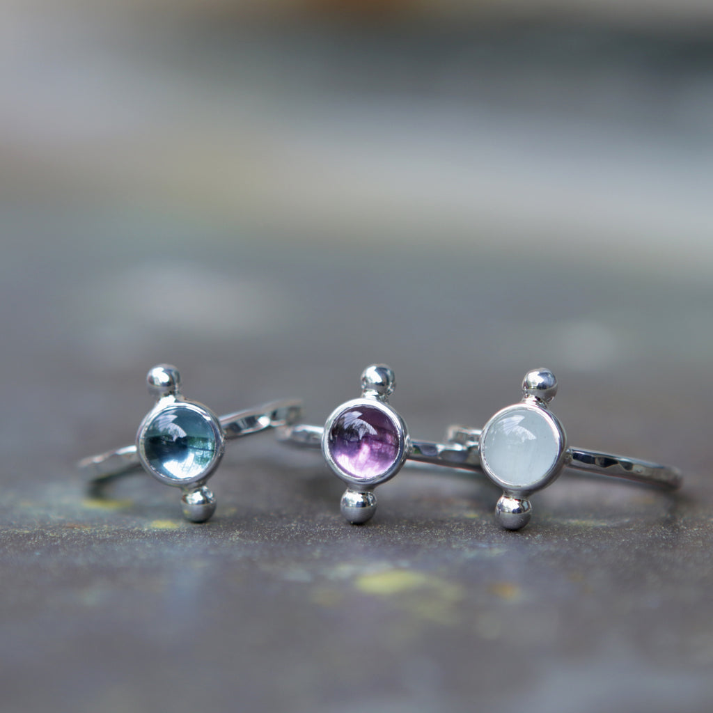 Sterling Silver Polar Rings in Topaz Amethyst Aquamarine