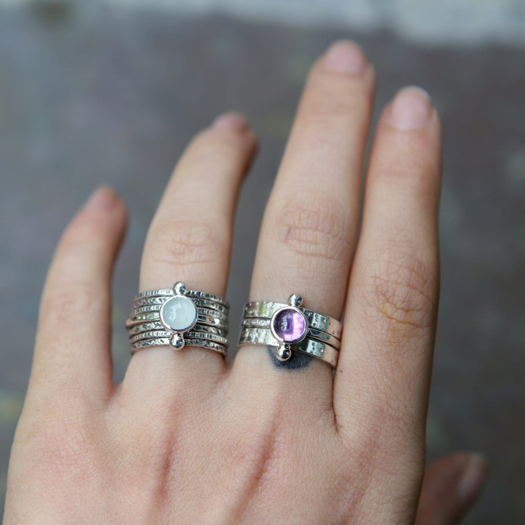 Spring and Summer Gemstone Stacking Rings