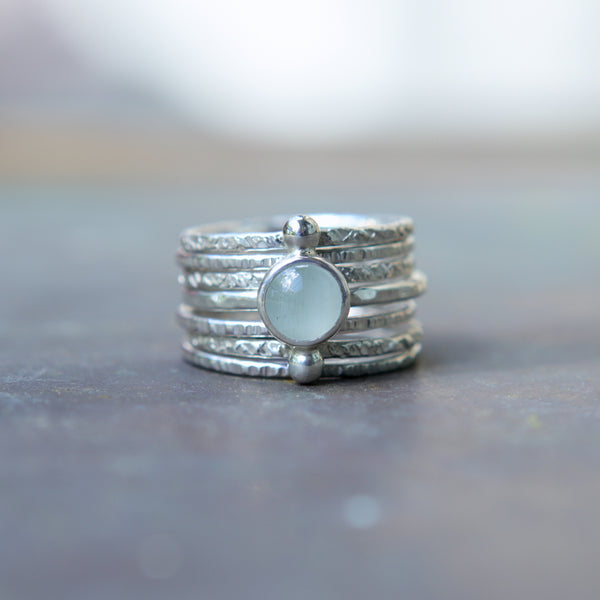 Sterling Silver Polar Aquamarine Textured Ring Stack